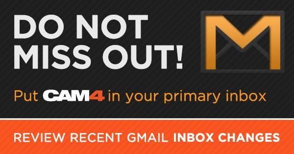 Receba sempre os Emails do Cam4