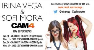 Irina Vega + Sofi Mora: Super Shows em Maio no CAM4