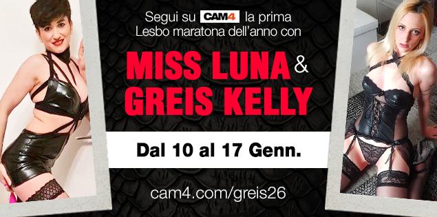 Maratona de Shows Lésbicos com Luna Ramondini & Greis26, de 10 a 17 de janeiro ao vivo no CAM4!
