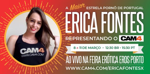 A estrela Pornô Erica Fontes transmitindo ao vivo no CAM4 do Eros Porto
